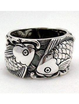 Japanese Koi Wedding Bands, 925 Sterling Silver Ring, Koi Tattoo Fish Carp Ring By Sterling Malee by Etsy