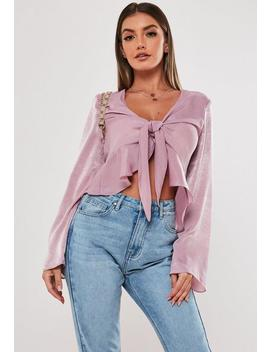 Lilac Satin Flute Sleeve Peplum Blouse by Missguided