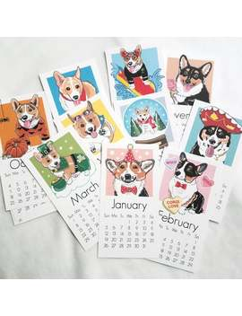 2020 Corgi Calendar   Printed On Recycled Linen Paper   Mini Desk Size by Etsy
