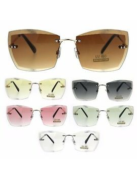 Squared Beveled Lens Womens Large Rimless Cat Eye Fashion Sunglasses by Sa106