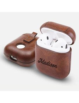 Personalized Air Pods 1 Case Keychain   Any Name Engraved On Brown/Red/Blue Pu Leather [Front Led Not Visible Support Wireless Charging] by Etsy