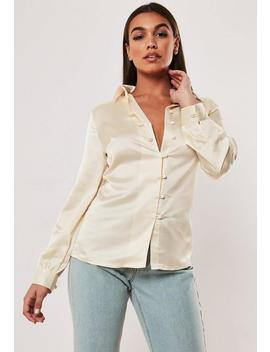 Ivory Satin Covered Button Shirt by Missguided