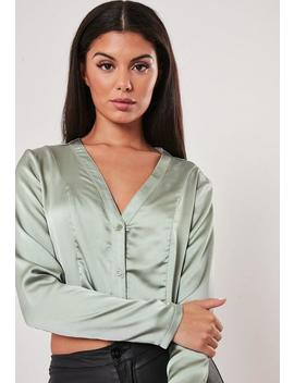 Green Satin Button Front Crop Top by Missguided