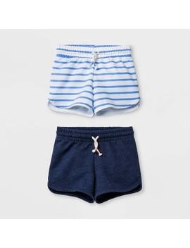 Girls' Knit Pull On Shorts   Cat & Jack™ Navy/Blue Stripe by Cat & Jack