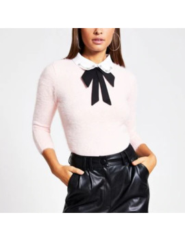 Pink Embellished Collar Fluffy Knit Jumper by River Island