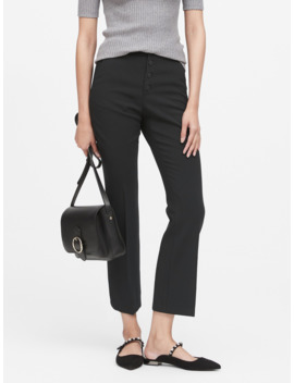 Petite High Rise Crop Flare Button Fly Pant by Banana Repbulic