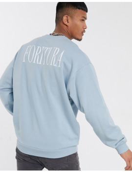 Asos Design Oversized Sweatshirt In Blue With Back Print by Asos Design