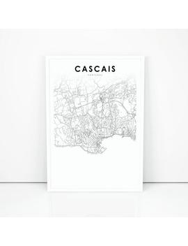 Cascais Map Print, Portugal Map Art Poster, Lisbon Portuguese Riviera Street Road Map Print, Nursery Room Wall Office Decor, Printable Map by Etsy