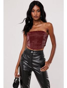 Red Mock Croc Bandeau Crop Top by Missguided