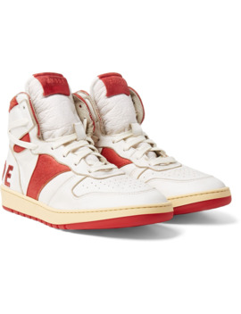Rhecess Hi Logo Appliquéd Distressed Leather High Top Sneakers by Rhude