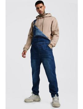 Relaxed Fit Long Length Denim Dungarees by Boohoo