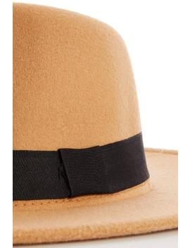 Tan Fedora Hat by Quiz