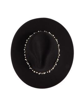 Black Faux Pearl Trim Fedora Hat by Quiz