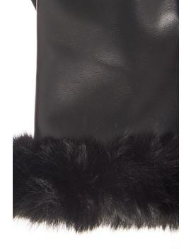 Black Faux Fur Gloves by Quiz
