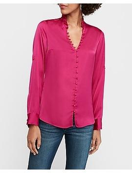 Slim Fit Satin Ruffle Collar Portofino Shirt by Express