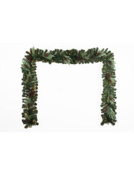 12 Ft. Battery Operated Pre Lit Led Woodmoore Artificial Christmas Garland by Home Accents Holiday