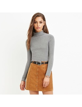 Medium Camel Corduroy Button Up Skirt   Nwt by Forever 21