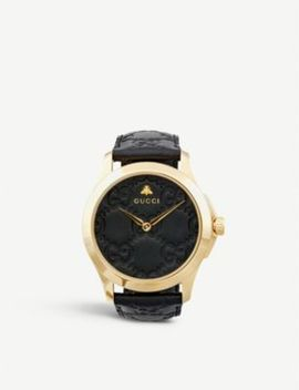 Ya1264034 G Timeless Signature Yellow Gold Plated Stainless Steel And Leather Watch by Gucci