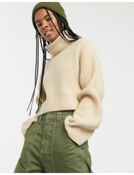 Monki Cropped Roll Neck Jumper In Light Beige by Monki