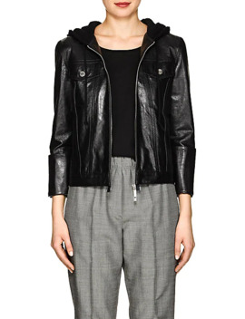Hooded Glazed Leather Jacket by Helmut Lang
