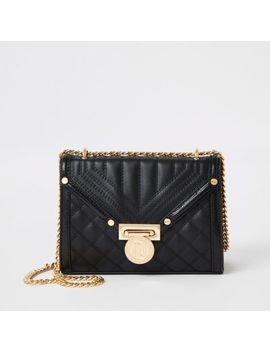 Black Quilted Mini Cross Body Bag by River Island