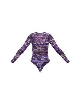 Purple Waves Printed Mesh Crew Neck Long Sleeve Bodysuit by Prettylittlething
