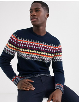 Asos Design Fairisle Sweater In Navy by Asos Design
