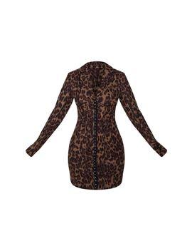 Khaki Leopard Print Long Sleeve Corset Style Blazer Dress by Prettylittlething