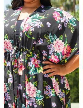 Asoph Plus Size Floral Kimono Cardigan by Asoph