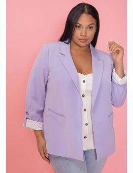 Asoph Plus Size Lavender Open Front Blazer by Asoph