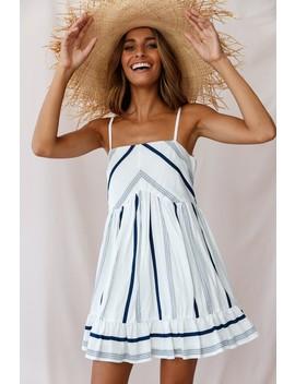 Elsie Square Neckline Frill Hem Swing Dress Stripe Print Navy by Selfie Leslie