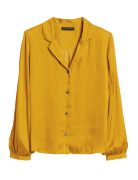 Soft Satin Camp Collar Blouse by Banana Repbulic