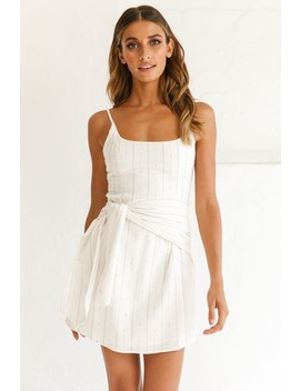 Echo Rounded Neckline Tied Sash Dress White by Selfie Leslie