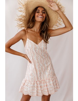 Albion Scalloped Fluted Hem Dress Rose Embroidery by Selfie Leslie