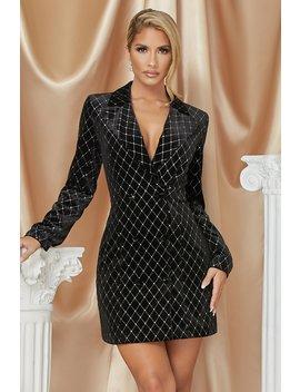 Lona Velvet Double Breasted Blazer Dress   Black by Meshki