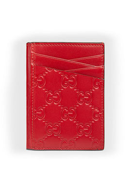Men's Gg Signature Leather Card Case by Gucci