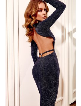 Armelle Long Sleeve High Neck Dress   Black by Meshki