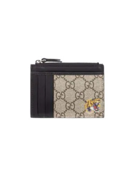 Gg Supreme Tiger Print Zip Wallet by Gucci