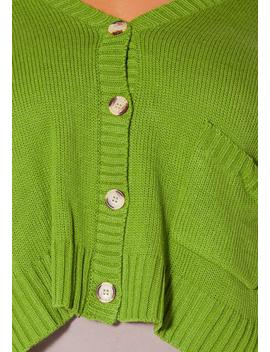 Asoph Plus Size Pea Green Cozy Knit Womens Cardigan by Asoph