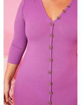 Asoph Plus Size Faux Buttoned Purple Ribbed Bodycon Dress by Asoph