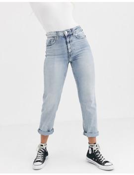 River Island – Mom Jeans Mit Abnutzungserscheinungen In Verwaschenem Blau by Asos