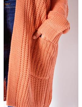Asoph Plus Size Womens Peach Waffle Knitted Longline Cardigan by Asoph