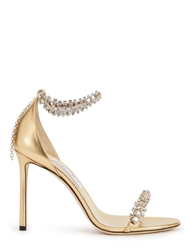 Shiloh 100 Gold Leather Sandals by Jimmy Choo