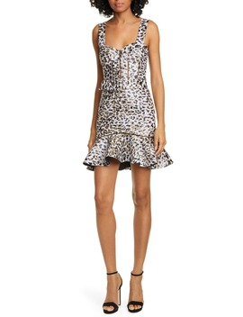 Leopard Lamé Bustier Cocktail Dress by Jonathan Simkhai