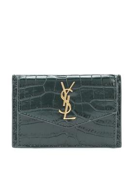 Uptown Croc Effect Leather Card Case by Saint Laurent