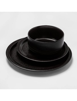 12pc Porcelain Ravenna Dinnerware Set Black   Project 62™ by Shop This Collection