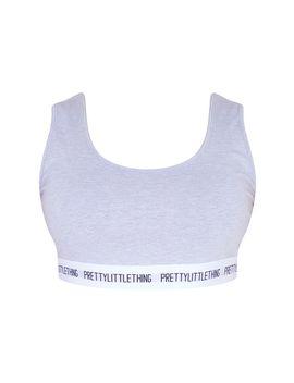 Prettylittlething Plus Grey Crop Bra  by Prettylittlething