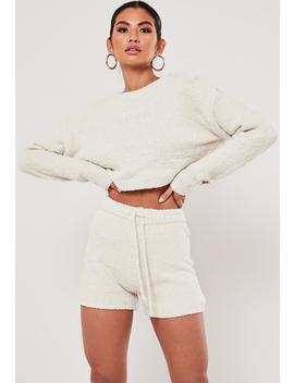 Cream Co Ord Soft Touch Knitted Shorts by Missguided