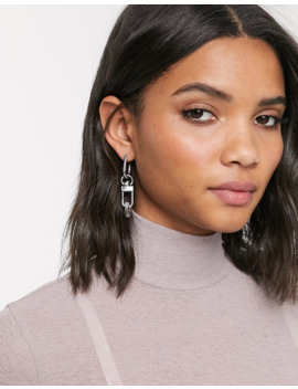 Freedom At Topshop Padlock Detail Drop Earrings In Silver by Topshop