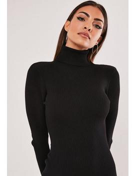 Vestido Corto De Cuello Vuelto De Punto En Negro by Missguided